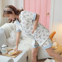 产妇外出产后吸汗春夏哺乳夏季喂奶短袖孕妇睡衣月子服夏棉薄款