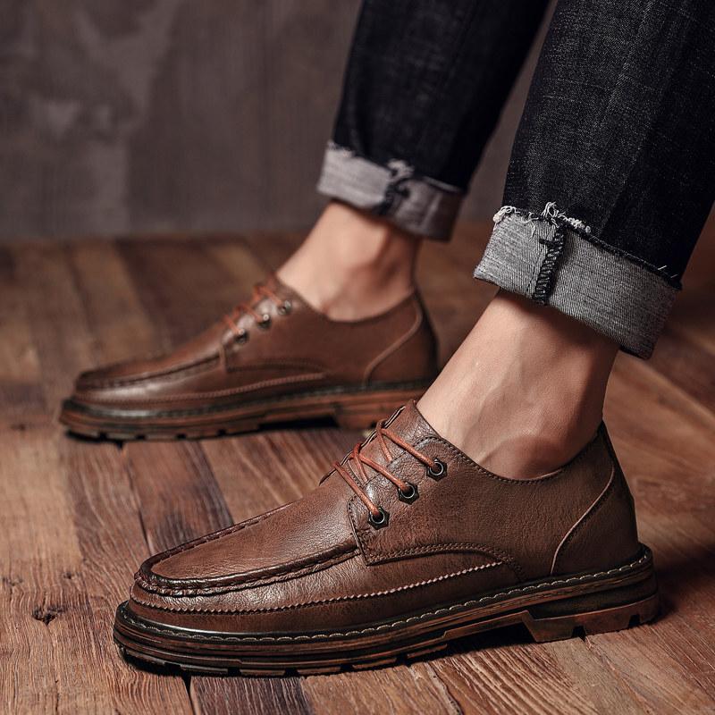 秋季男士皮鞋男韩版潮流雕花布洛克男鞋休闲黑色英伦低帮马丁靴子