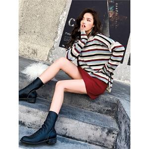 七格格毛衣女套头慵懒风宽松春装2019新款韩版学生条纹打底针织衫