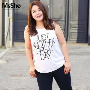 MsSHE加大码女装2017新款夏装胖妹妹胖MM弹力棉背心打底M1710560
