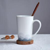 马克杯带盖勺手绘创意陶瓷茶杯景德镇个性简约咖啡杯情侣杯定制
