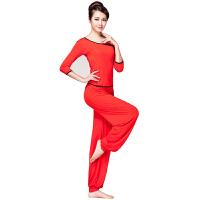 广场舞服装套装 新款秋冬女中长袖上衣舞蹈服中老年运动跳舞演出服瑜伽服两件套 红色七分袖 XXL