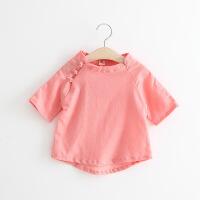 夏装新款中国风唐装男女童复古三粒扣棉麻圆领半袖上衣B-A37
