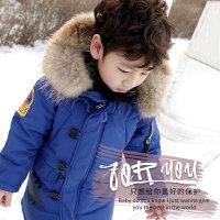 冬装新款儿童羽绒服潮男童大毛领加厚保暖中长款外套反季