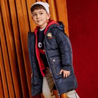 美特斯邦威旗下moomoo童装儿童羽绒服2018冬装新款中长款鸭绒男中童外套