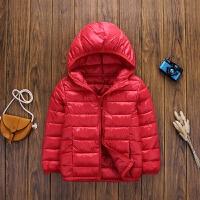 儿童羽绒轻薄款连帽保暖秋冬季中大童女童男宝宝棉衣外套