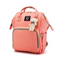 新款妈咪包双肩包多功能大容量时尚妈咪袋孕妇外出旅行背包母婴包 粉红色 偏点点暖粉
