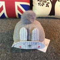 儿童秋冬毛呢帽宝宝韩版马术帽男女孩鸭舌帽婴儿帽子1-4岁潮 9-20个月 米白色 兔耳朵 马术帽 送包指手套 均码