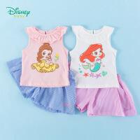 【3件3折到手价:57.9】迪士尼Disney童装 女童套装公主印花花边背心条纹短裤两件套2020年夏季新品中小童衣服