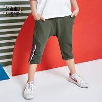 小虎宝儿恐龙男童运动短裤2018夏装新款七分裤休闲裤子韩版