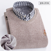冬季中年保暖衬衫男爸爸装套头拼接毛衣假两件针织衫加绒加