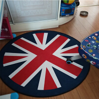 现代简约圆形地毯卡通儿童电脑椅地垫吊篮转椅垫卧室客厅茶几毯 红白蓝 米字旗