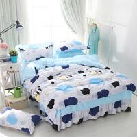 棉床罩床裙式四件套床上床单被套全棉卡通可爱床套带1.8m床款4 小奶牛