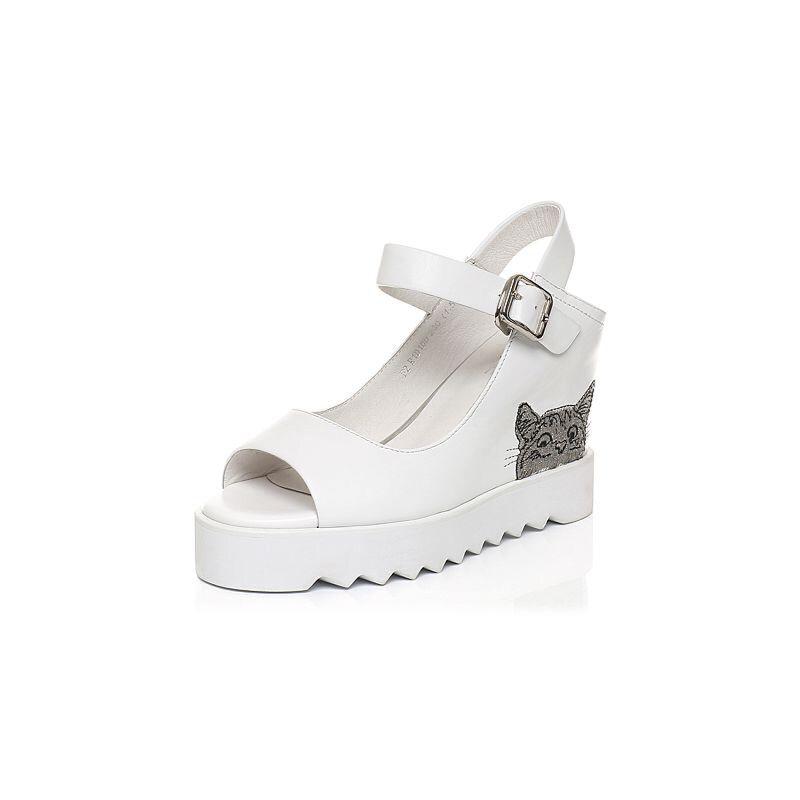 Belle/百丽夏季专柜同款中空露趾厚底女凉鞋R1D1DBL7