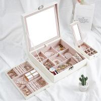 首饰收纳箱 桌面收纳欧式带锁饰品旅行收纳盒首饰收藏盒手表项链手镯整理盒
