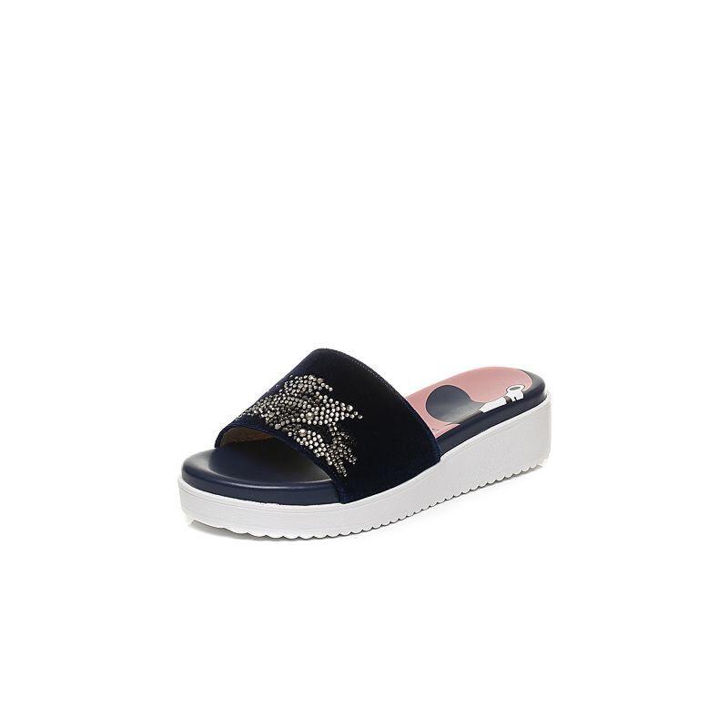 STACCATO/思加图2017年夏季专柜同款毛绒布女凉拖鞋9YZ09BT7