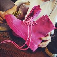 秋季新款复古真皮马丁靴女英伦风粉色单靴学生平底粗跟短靴