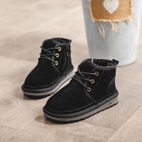 真皮儿童雪地靴2018秋冬季新款韩版女童加绒短靴男童保暖宝宝靴子