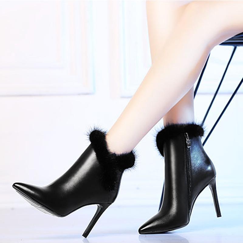 №【2019新款】冬天美女穿的真皮雪地靴高跟鞋女加绒尖头细跟酒红色短靴女