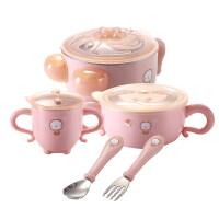 W辅食碗 婴幼儿注水保温碗宝宝餐具碗勺套装婴儿辅食碗摔儿童吸盘碗杯叉O