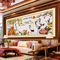 丝带绣客厅大挂画3D 富贵长寿图 立体印花十字绣 鹤大幅