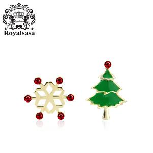 皇家莎莎S925银耳钉女圣诞礼品圣诞树小雪花耳饰耳环饰品新年礼物
