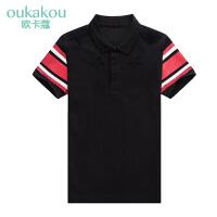 短袖POLO衫男装 夏季男士时尚休闲潮流个性黑色几何短袖POLO恤