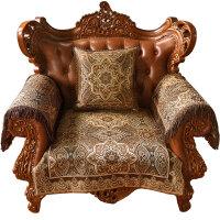 沙发垫欧式防滑布艺客厅沙发套巾四季通用秋冬真皮沙发坐垫 萨尔瓦多 深情咖