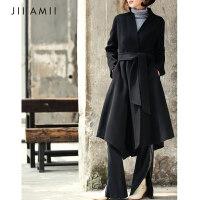 JII AMII2018流行大衣女新款秋冬外套女羊毛双面呢赫本风毛呢大衣