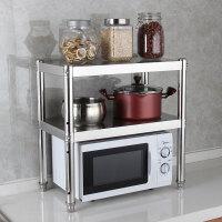 厨柜置物架2层厨房灶台双层架子微波炉收纳架不锈钢橱柜台面两层