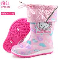 儿童雨鞋女童雨靴加绒宝宝水鞋防滑公主可爱小孩胶鞋