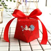 森系喜糖盒个性创意喜糖盒欧式婚礼大理石纹钻石喜糖盒礼品盒 小号【自己折叠】