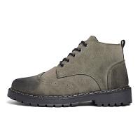 百搭男鞋布洛克雕花潮男英伦马丁靴冬秋季高帮短筒靴子黑色马丁靴