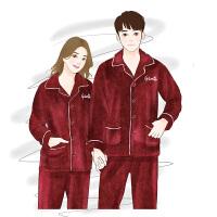 秋冬季情侣睡衣珊瑚绒加绒加厚结婚喜庆本命年红色男女家居服套装