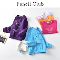 【3件2折:41.8】铅笔俱乐部童装2020春装新款女童套头卫衣中大童圆领T恤儿童长袖