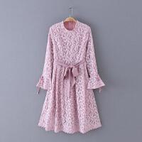 557 春季新款腰带修身简约纯色荷叶长袖蕾丝裙女式连衣裙