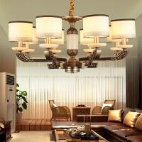 新中式客厅吊灯卧室创意灯锌合金服装店灯具云石复古灯饰