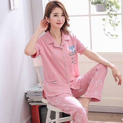 睡衣女夏季短袖长裤薄款可外穿韩版甜美可爱宽松春家居服套装