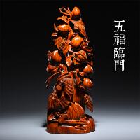 木雕喜上眉梢根雕摆件雕刻工艺品家居客厅装饰品*品