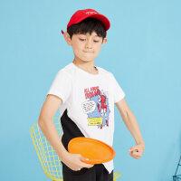【1件2.5折到手价:28.8】moomoo童装男童短袖t恤新款迪士尼漫威拼接宝宝儿童装男童夏