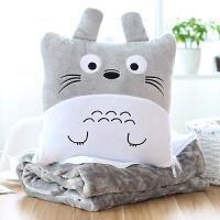 卡通枕头抱枕被子两用纯棉汽车可爱多功能折叠午休毛毯珊瑚绒