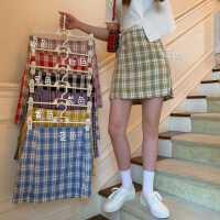 半身裙女夏2020新款紫色bm裙子高腰蓝色格子裙显瘦春秋A字裙短裙