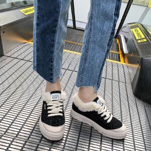 女式 秋冬新款豹纹女新款系带韩版潮流加绒毛毛原宿休闲棉鞋
