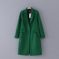 194 女装 冬季新款20纯色中长款长袖女式休闲外套毛呢大衣
