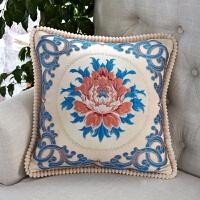 提花刺绣靠垫套不含芯45x45沙发欧式现代大号棉麻靠枕抱枕套