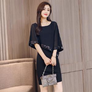 连衣裙女夏2017新款韩版时尚气质雪纺遮肚子大码显瘦名媛包臀裙子