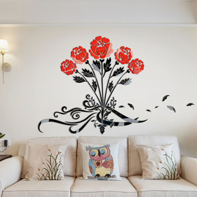 亚克力3d立体墙贴玫瑰花香家装饰品客厅餐厅卧室背景墙壁纸贴画