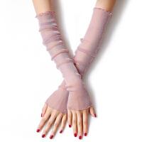 夏季防晒袖套冰袖子网纱袜脚套两用冰丝手套蕾丝金银丝手臂套透气 均码