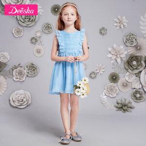【99元3件专区】笛莎女童装2018夏装新款短袖连衣裙中大童甜美木耳边公主裙子