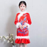 儿童旗袍秋冬季女童唐装中国风加绒加厚保暖长袖钢琴公主裙新年装
